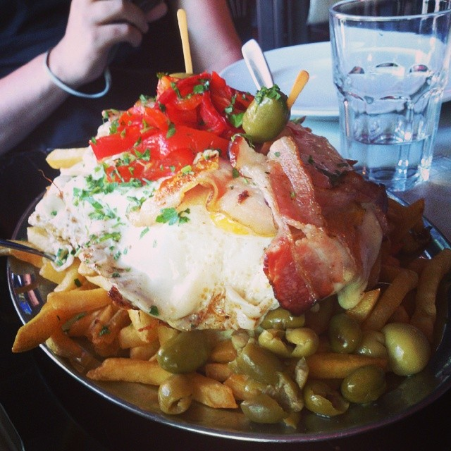 Chivito. Unnecessarily large steak 'sandwich' which contains everything but the kitchen sink.